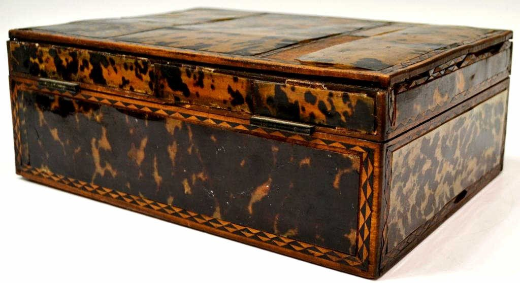 54: 19TH C. ENGLISH TORTOISE SHELL WORK BOX - 5