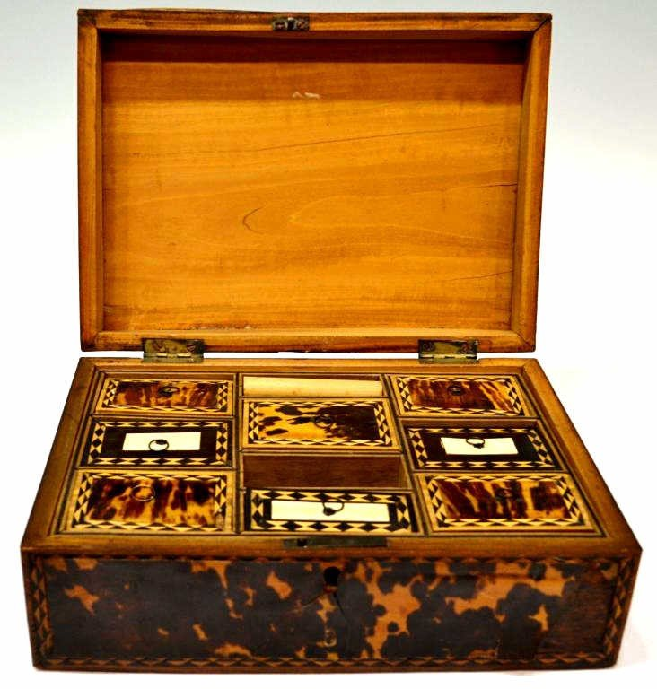 54: 19TH C. ENGLISH TORTOISE SHELL WORK BOX - 8