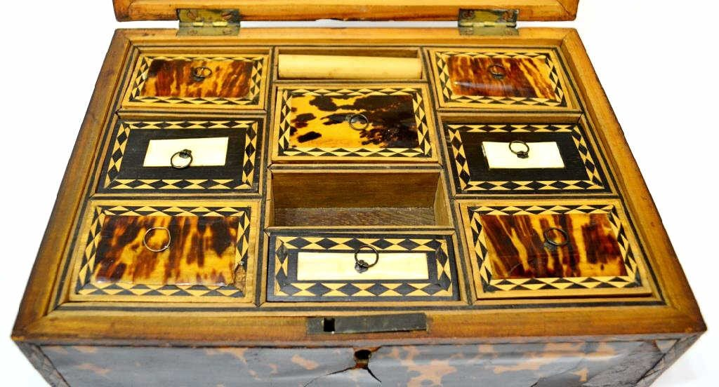 54: 19TH C. ENGLISH TORTOISE SHELL WORK BOX - 9