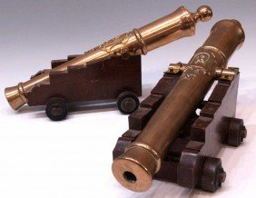 PAIR EARLY 20TH C. ARMORIAL BRONZE CANNON REPLICAS