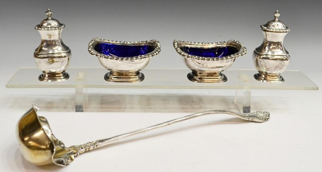 70: KNOWLES STERLING LADLE & SILVER PLATE ITEMS