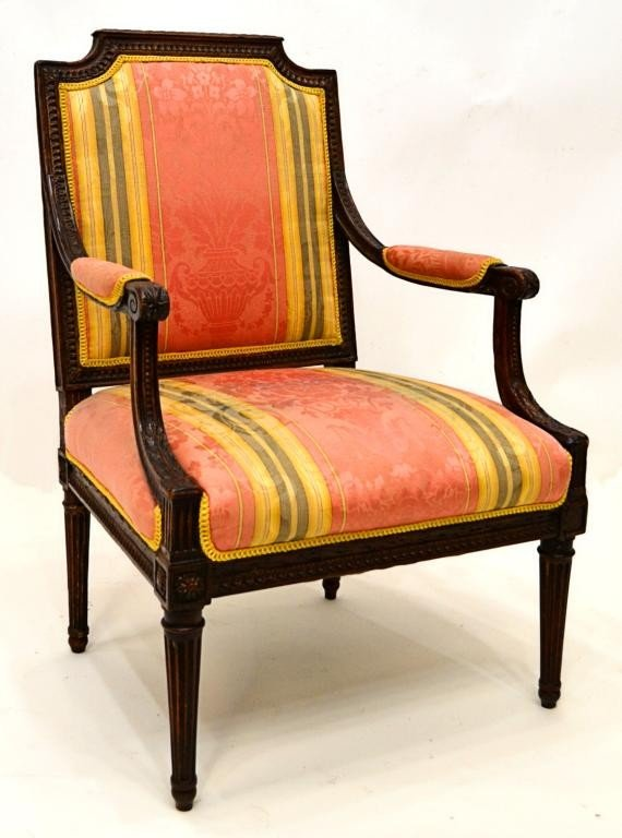 76: LOUIS XVI CARVED & UPHOLSTERED FAUTEUIL ARM CHAIR