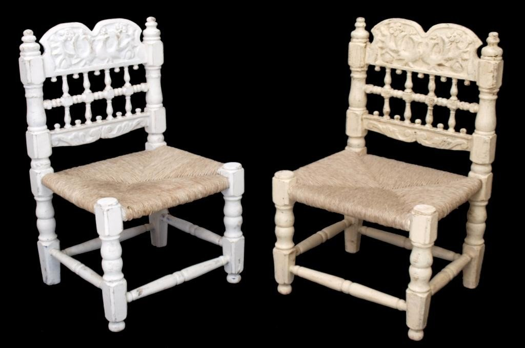 80: ANTIQUE SPANISH CARAVED BACK PAINTED PINE CHAIRS