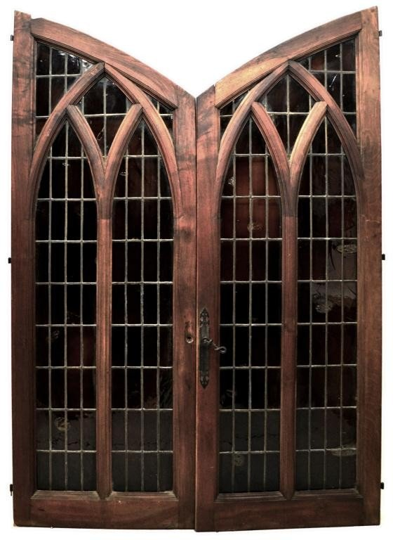 81: 19TH C. SPANISH GOTHIC STYLE LEADED GLASS DOORS