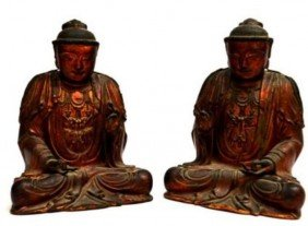 (LOT OF 2) CHINESE LAQUARED WOOD DEITIES, QING
