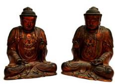 235: (LOT OF 2) CHINESE LAQUARED WOOD DEITIES, QING