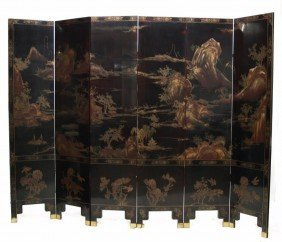 CHINESE SIX-PANEL GILDED LACQUERED FOLDING SCREEN