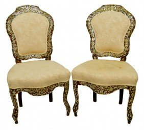 SYRIAN MOTHER-OF-PEARL & BONE INLAID SIDE CHAIRS