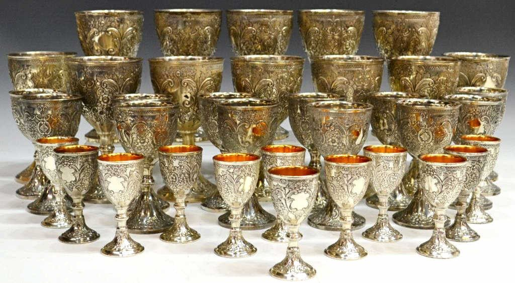 279: ORNATE CORBELL & COMPANY SILVER PLATE GOBLETS