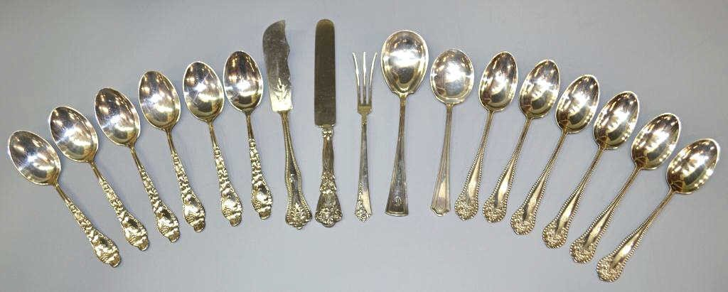 282: ASSORTED STERLING SILVER FLATWARE & SERVICE ITEMS