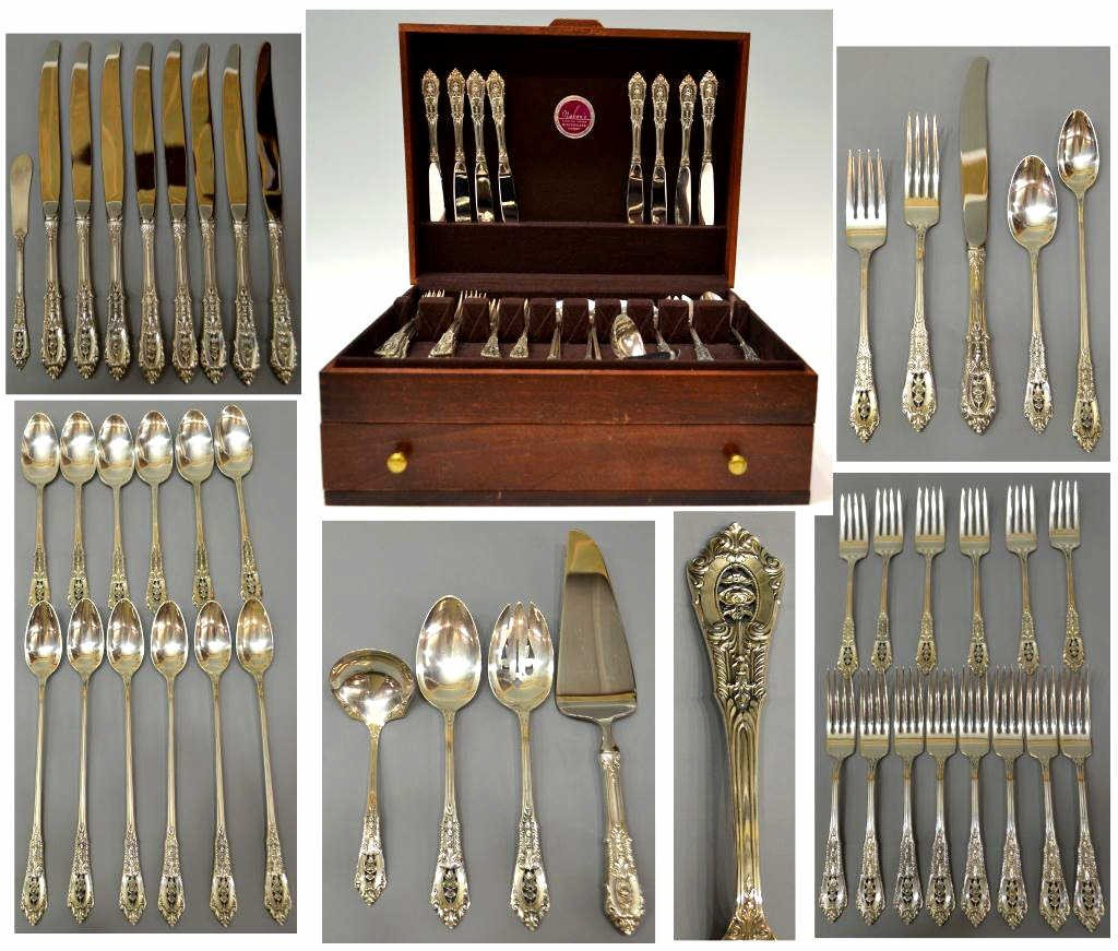 283: WALLACE ROSE POINT STERLING SILVER FLATWARE SET
