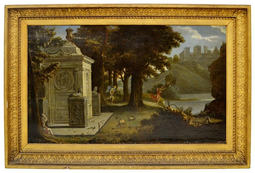 286: LARGE FRAMED PAINTING, APOLLO CHASING DAPHNE