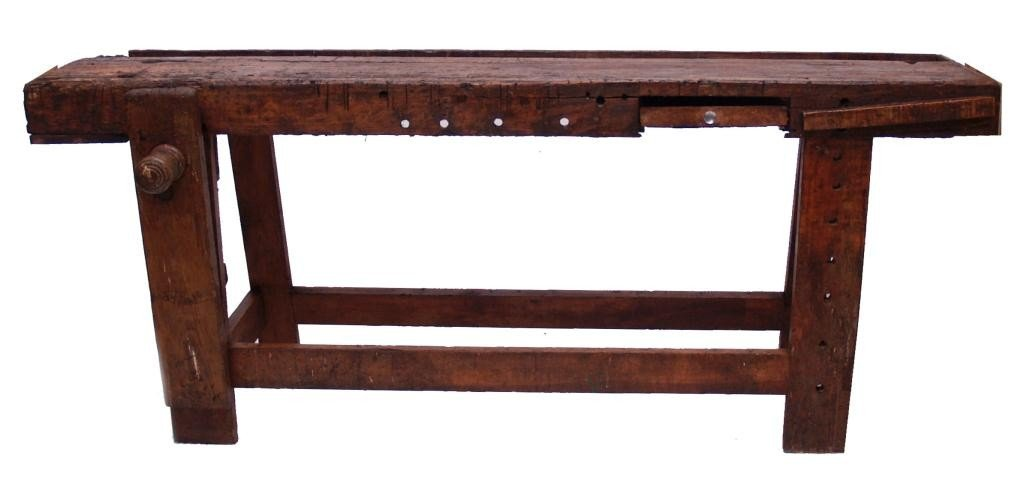 294: RUSTIC SPANISH WORK BENCH, IRON & WOOD VISE