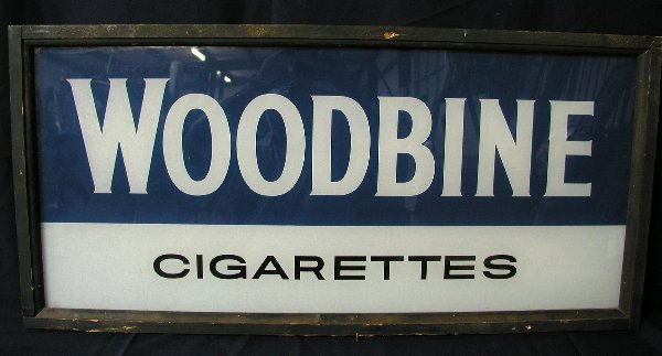 7: WOODBINE CIGARETTES GLASS SIGN FRAMED COND