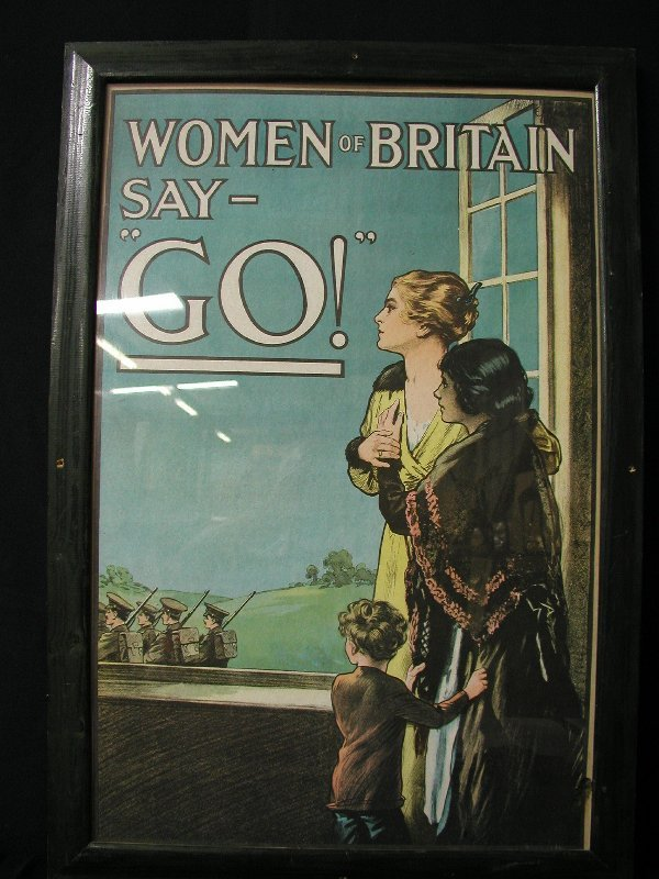 """11: WWI POSTER """" WOMEN OF BRITAIN SAY GO!"""" CO"""