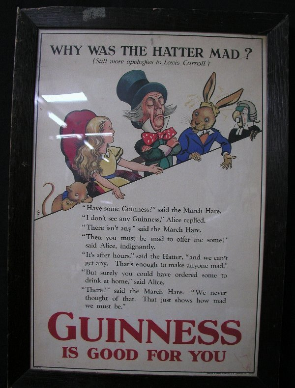 14: GUINESS BEER SIGN CONDITION: FRAME CRACKE