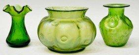 (3) LOETZ ART GLASS RUSTICANA BOWL & VASES