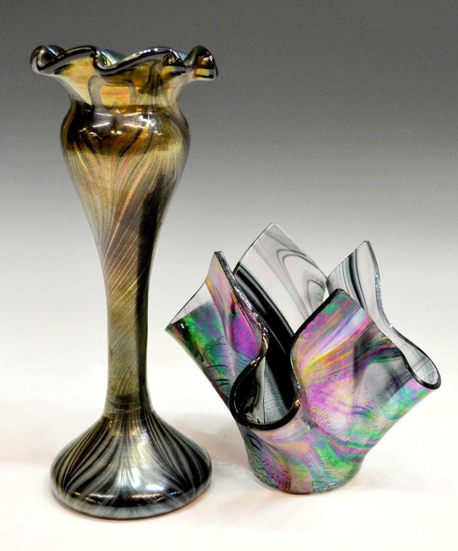 25: (2) ART GLASS VASES, ONE SIGNED