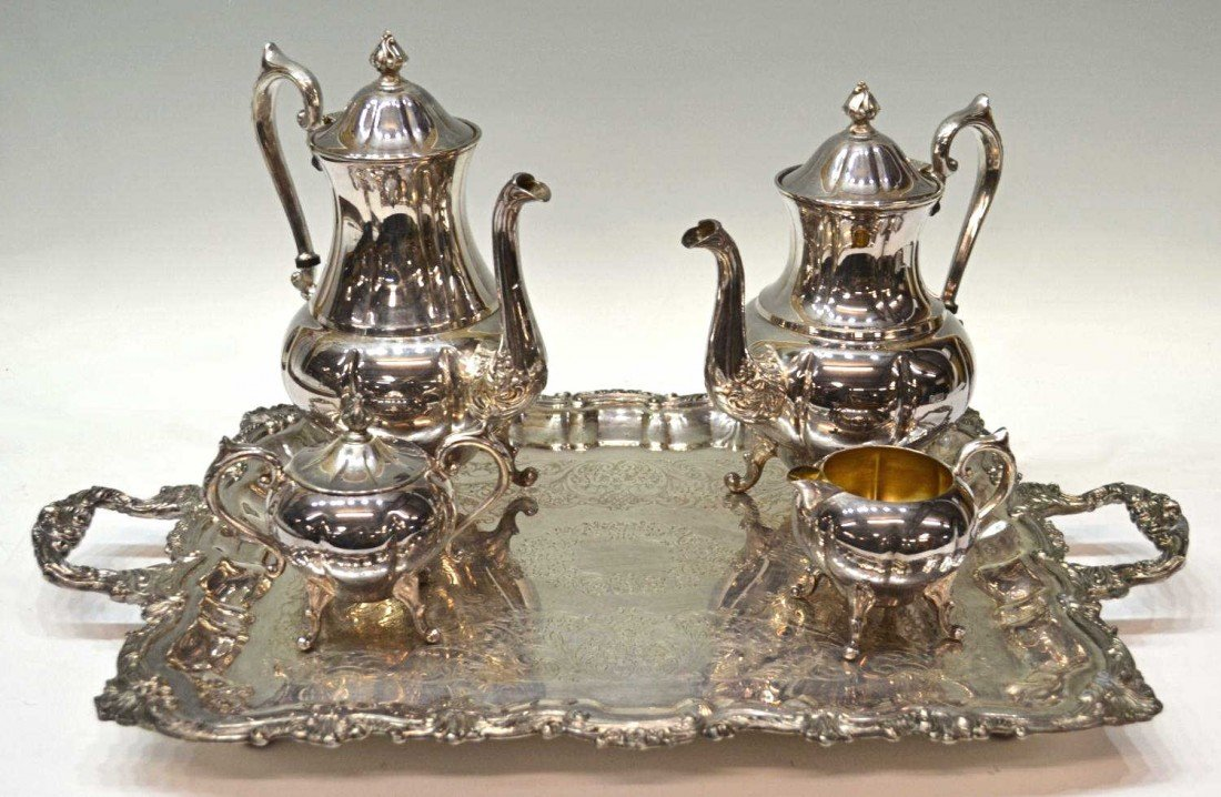 35: SHERIDAN SILVER PLATE TEA & COFFEE SERVICE