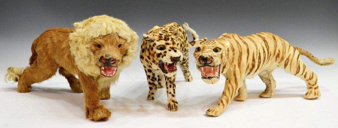 66: ANTIQUE HIDE COVERED LION, TIGER & LEOPARD