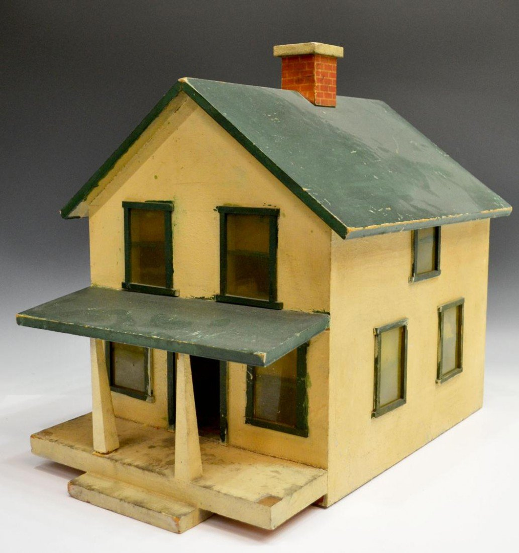 71: AMERICAN FOLK ART PAINTED TWO STORY HOUSE MODEL