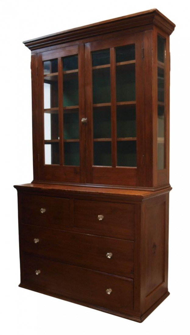 76: AMERICAN COUNTRY PINE STEPBACK CUPBOARD