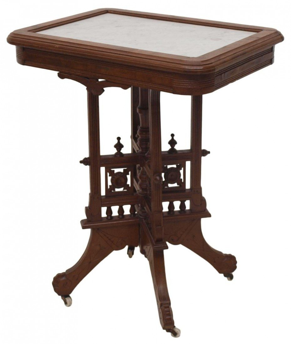 84: AMERICAN EASTLAKE MARBLE TOP LAMP TABLE