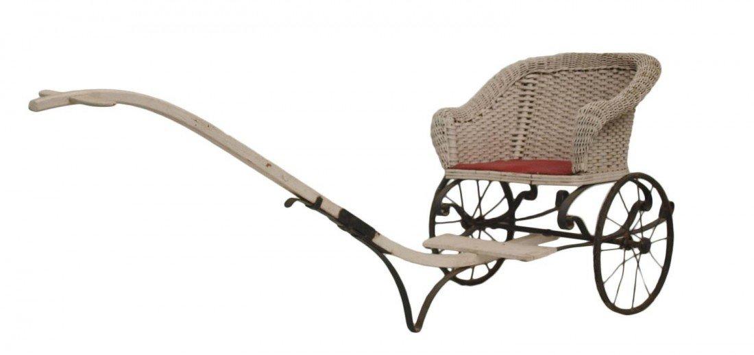 86: CHILD'S WICKER SEAT PULL CART