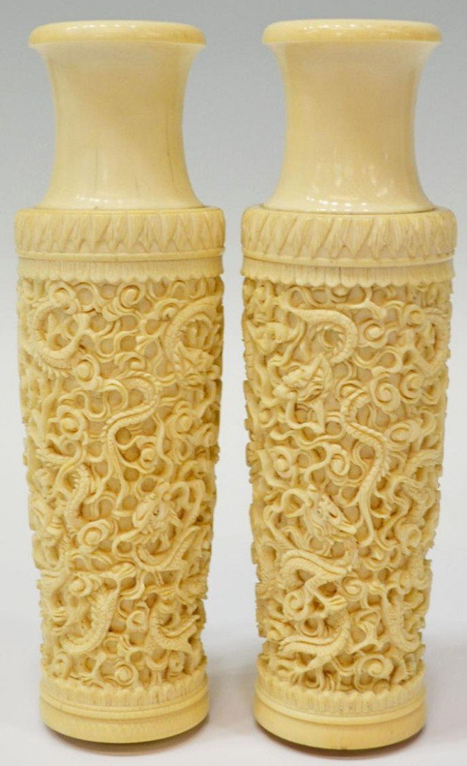 168: (PAIR) CHINESE CARVED IVORY VASES, DRAGONS