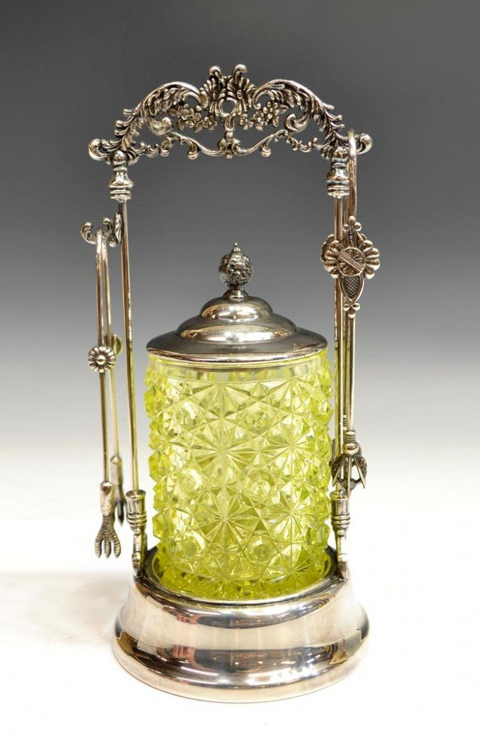 5: VICTORIAN PICKLE CASTOR, VASELINE GLASS CONTAINER