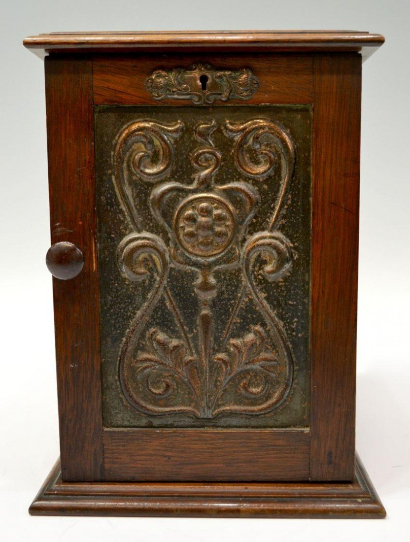 19: ANTIQUE ENGLISH OAK & COPPER SMOKERS CABINET