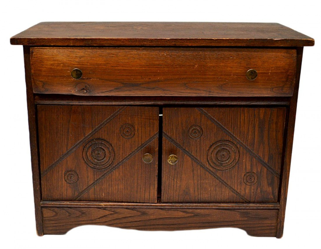 23: VINTAGE MINIATURE CARVED SIDEBOARD / BUFFET