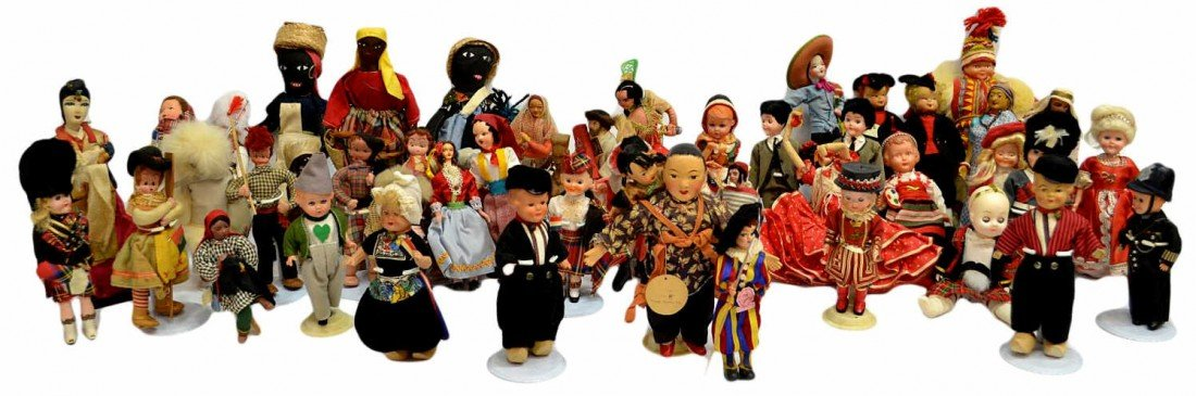 25: HUGE GROUP VINTAGE DOLLS FROM AROUND THE WORLD