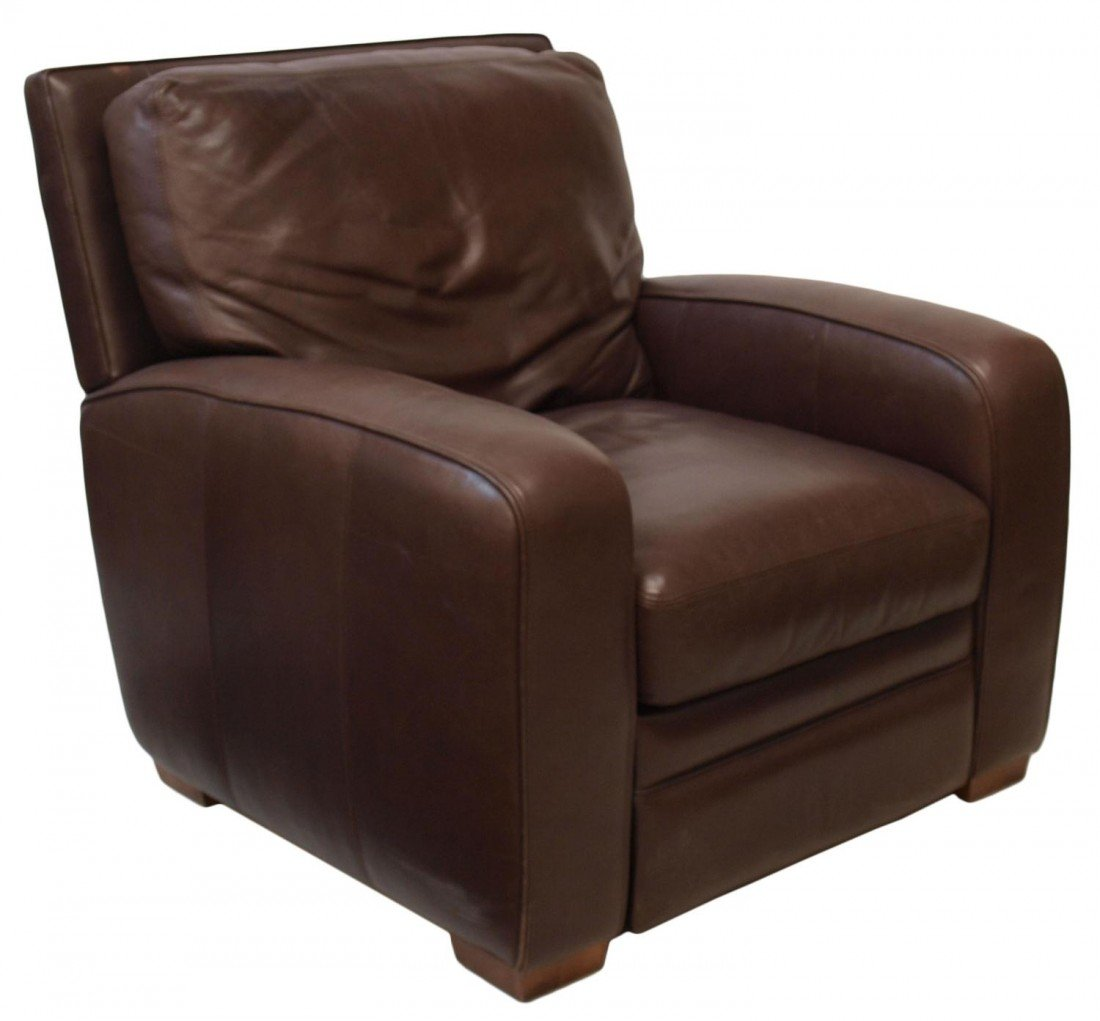 96: CRATE & BARREL MOCHA LEATHER RECLINING CHAIR
