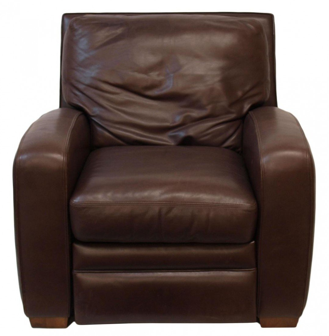 96: CRATE & BARREL MOCHA LEATHER RECLINING CHAIR - 2