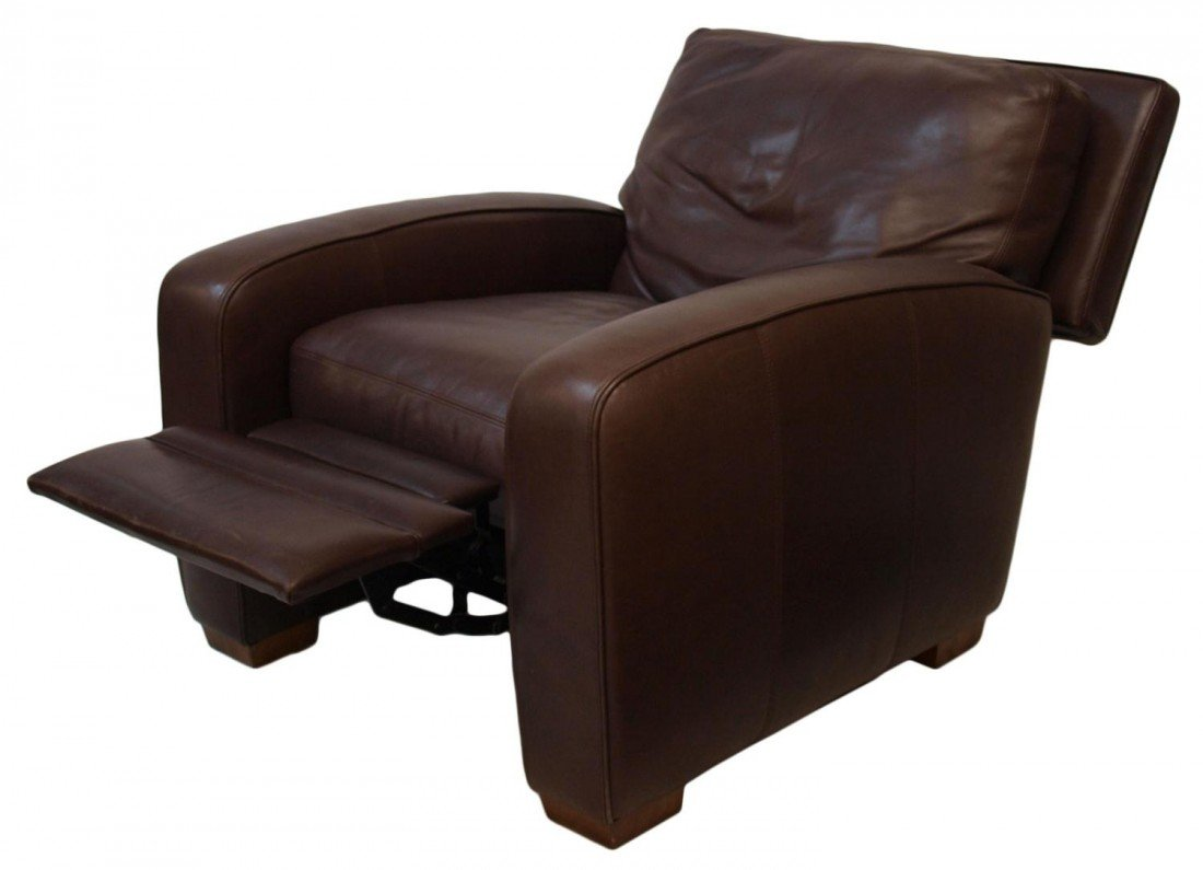 96: CRATE & BARREL MOCHA LEATHER RECLINING CHAIR - 3