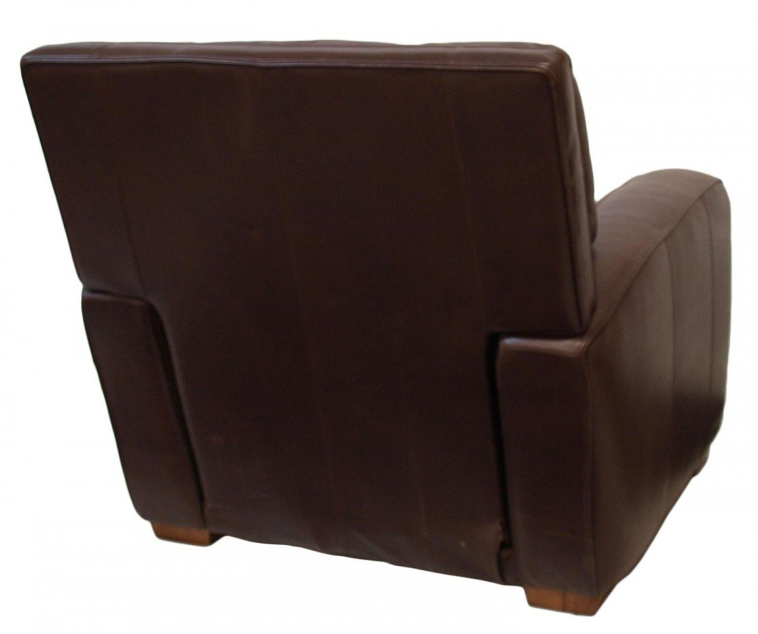 96: CRATE & BARREL MOCHA LEATHER RECLINING CHAIR - 4