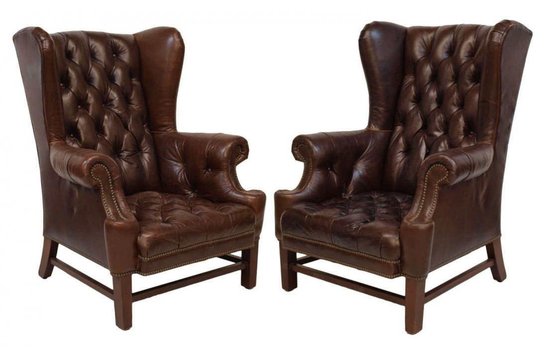 PAIR LARGE RALPH LAUREN LEATHER WINGBACK CHAIRS