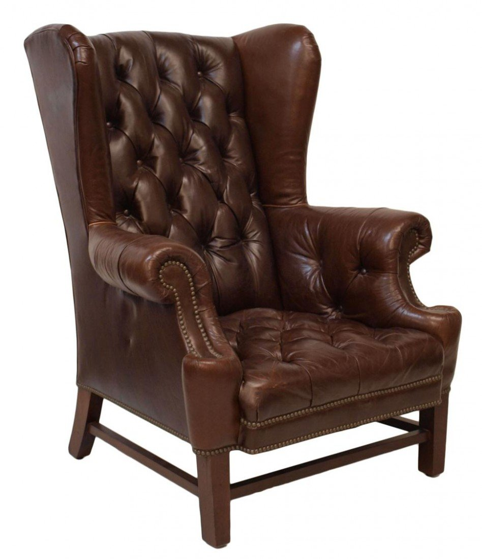 210: (PAIR) LARGE RALPH LAUREN LEATHER WINGBACK CHAIRS - 2