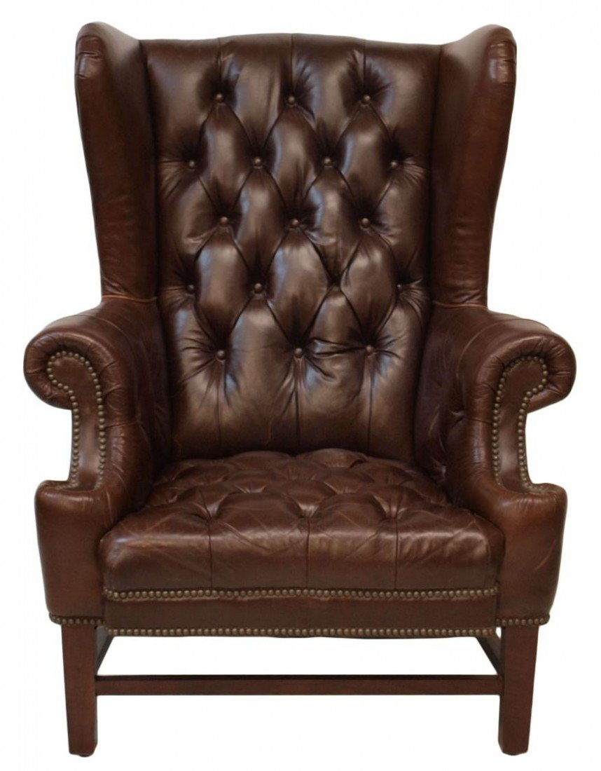 210: (PAIR) LARGE RALPH LAUREN LEATHER WINGBACK CHAIRS - 3