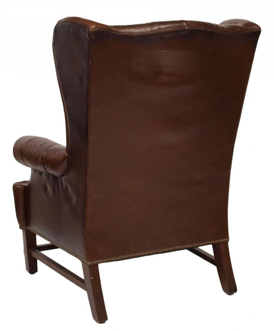 210: (PAIR) LARGE RALPH LAUREN LEATHER WINGBACK CHAIRS - 4