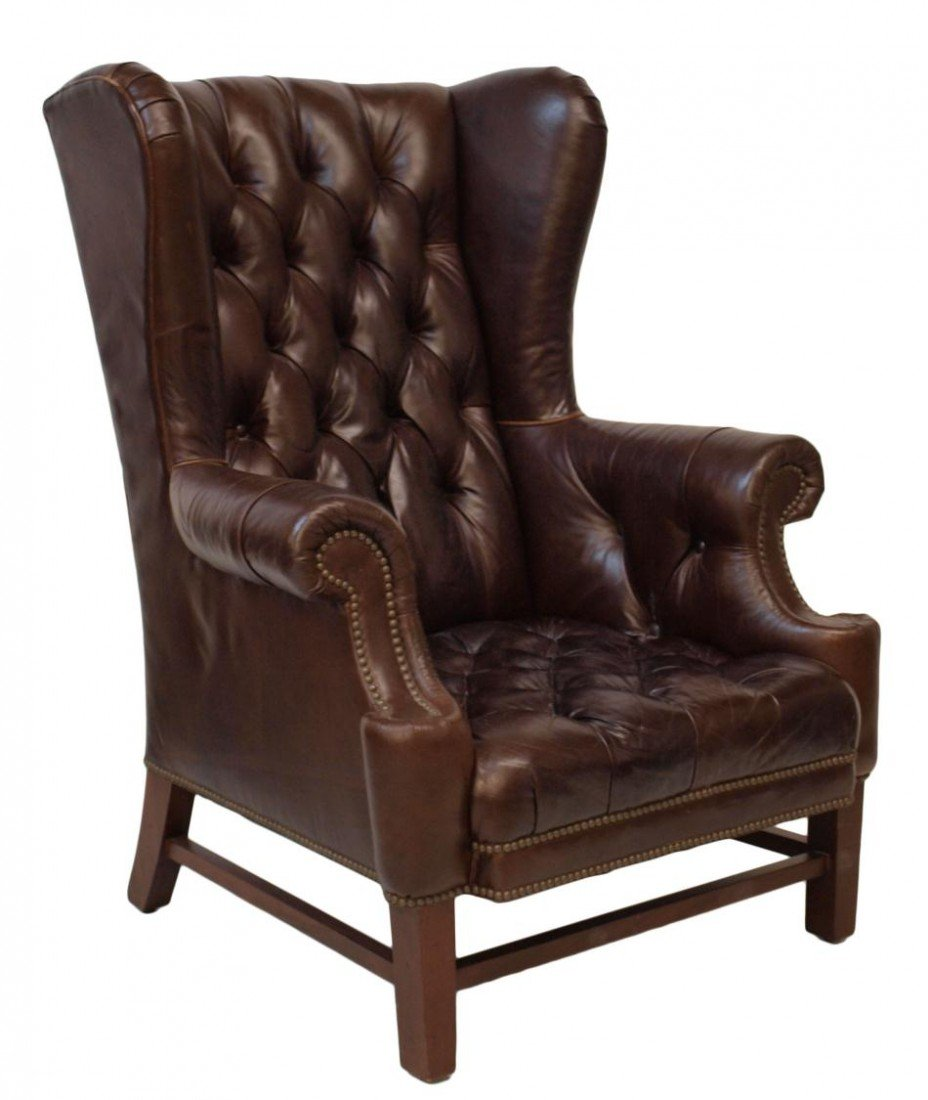 210: (PAIR) LARGE RALPH LAUREN LEATHER WINGBACK CHAIRS - 5
