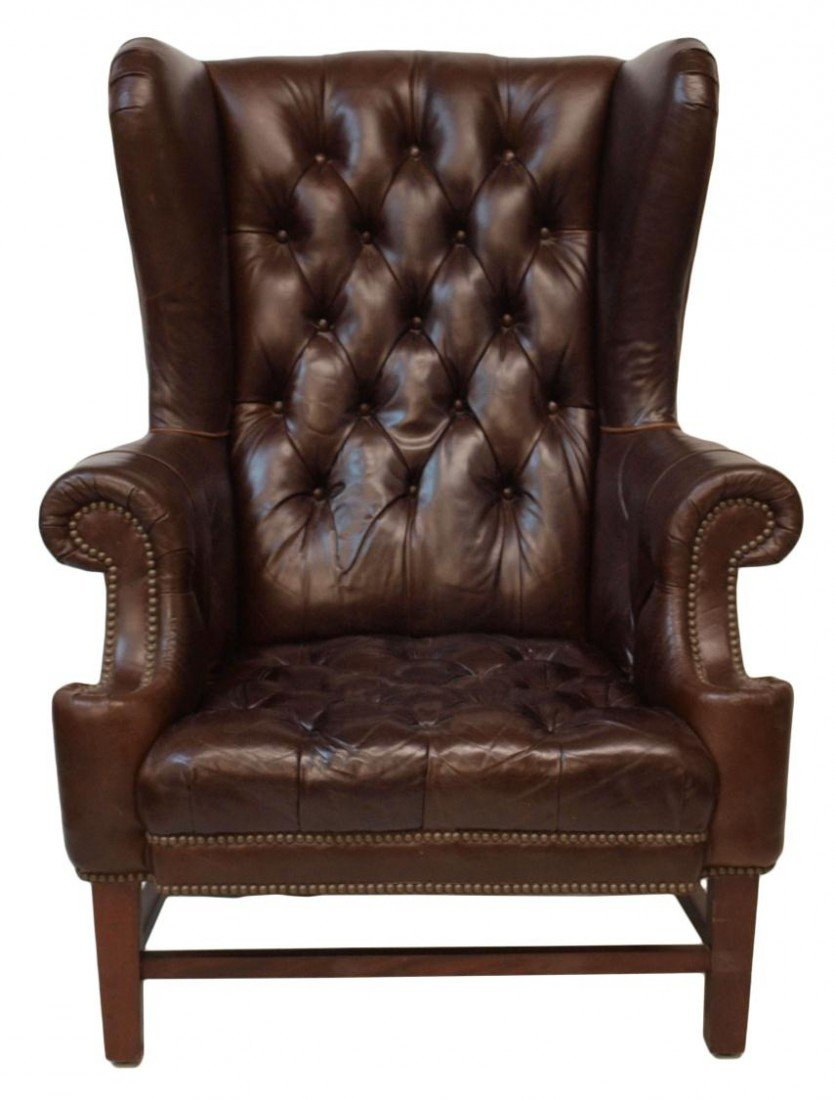 210: (PAIR) LARGE RALPH LAUREN LEATHER WINGBACK CHAIRS - 6