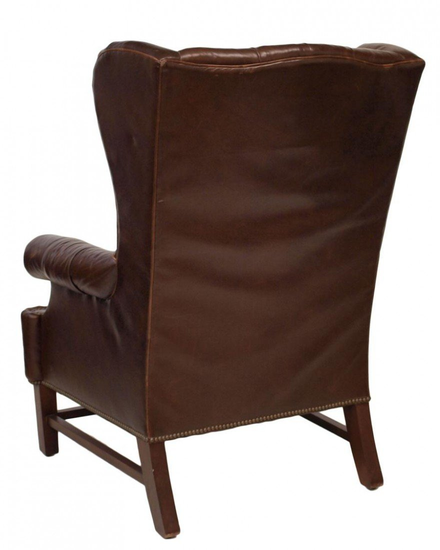 210: (PAIR) LARGE RALPH LAUREN LEATHER WINGBACK CHAIRS - 7