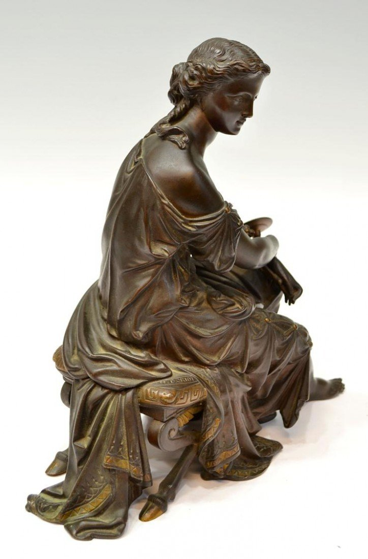 241: CONTINENTAL BRONZE SIGNED SCULPTURE, DORIOT - 6