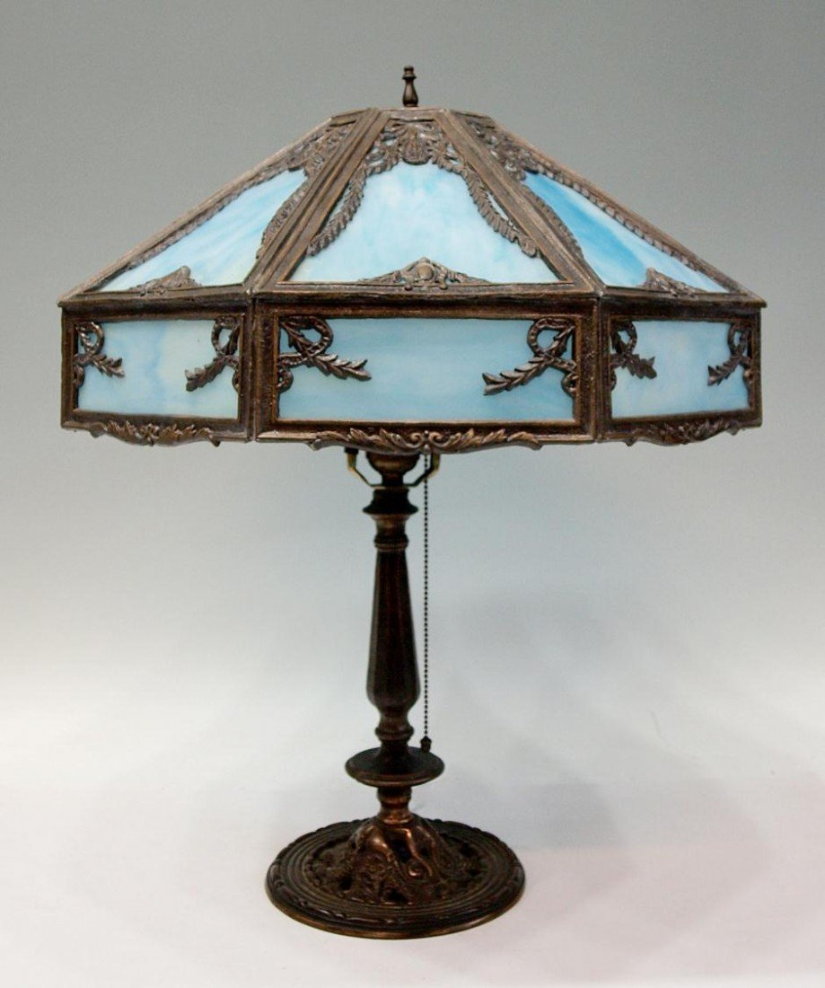 318 Antique Feltman Curme Slag Glass Table Lamp
