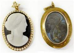 185 VICTORIAN 18KT CAMEO  SEED PEARL HAIR PENDANT