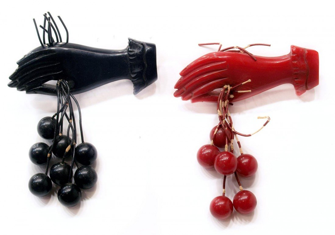2: (2) GROUP VINTAGE BAKELITE HAND & CHERRY BROOCHES