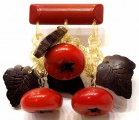 VINTAGE BAKELITE TOMATO & WOOD LEAF BAR PIN BROOCH