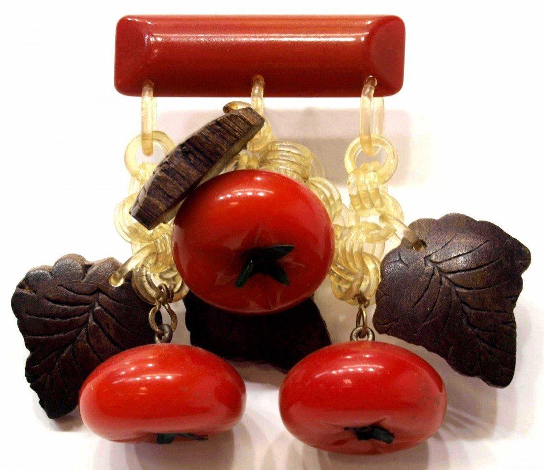 6: VINTAGE BAKELITE TOMATO & WOOD LEAF BAR PIN BROOCH